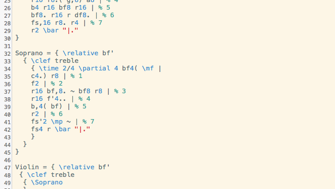 Lilypond syntax in Smultron